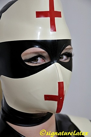A latex face mask